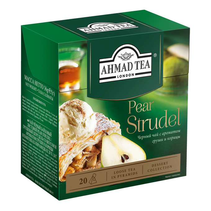 Чай черный Ahmad Tea Pear Strudel в пирамидках 1,8 г 20 шт