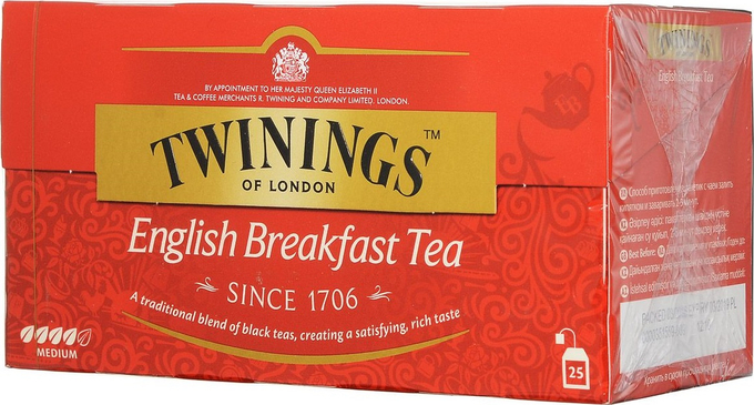 Чай черный Twinings English Breakfast в пакетиках 2 г 25 шт