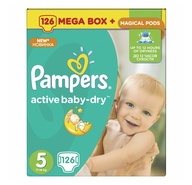 Подгузники Pampers Active Baby-Dry-Dry 5 Junior 11-18 кг mega box