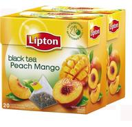 Чай черный Lipton Black Tea Peach Mango с ароматом персика и манго в пирамидках