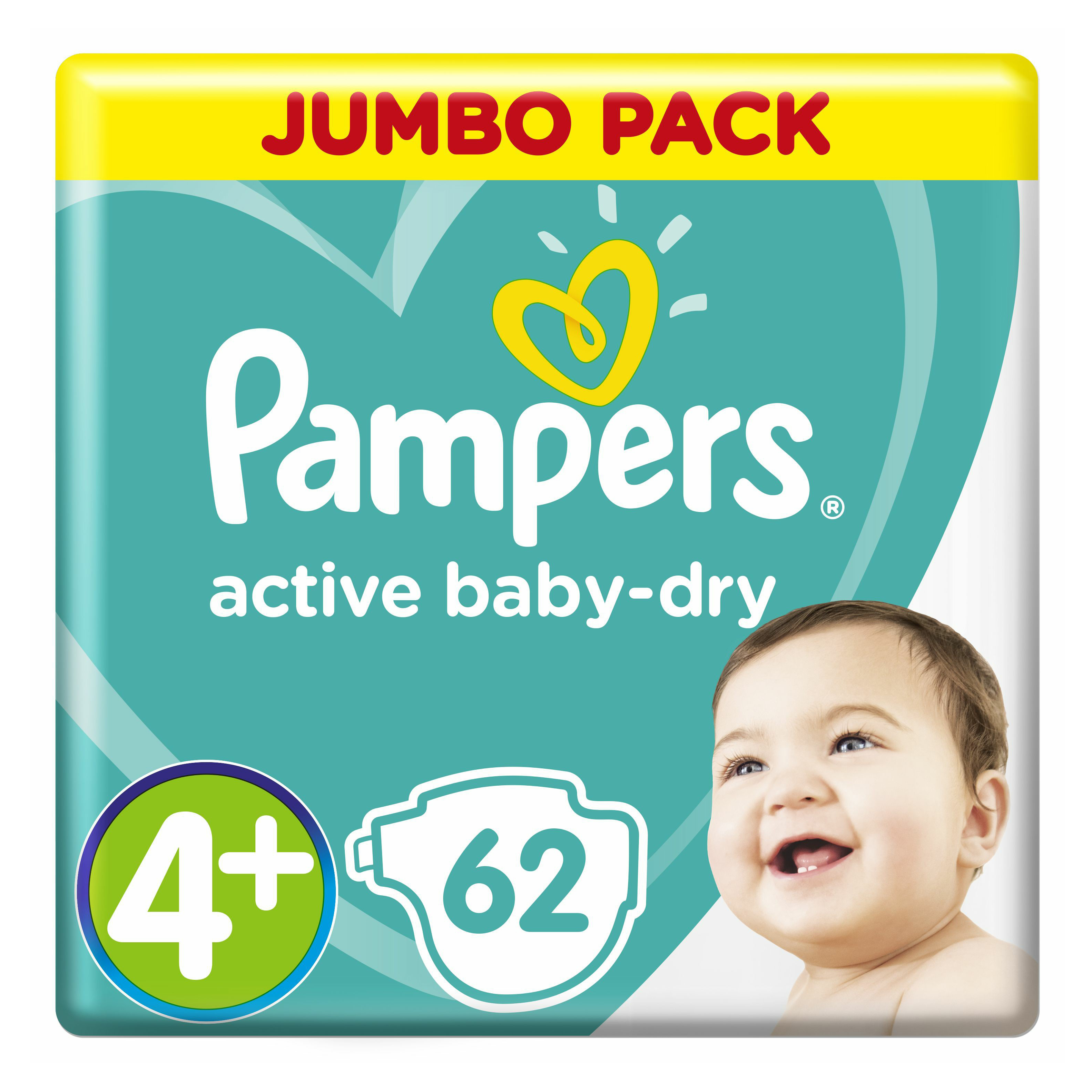Подгузники Pampers Active Baby-Dry jumbo 4+ maxi plus 9-20 кг